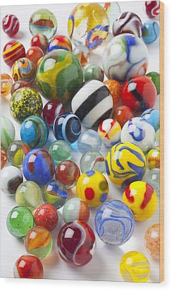 Many Beautiful Marbles Wood Print by Garry Gay
