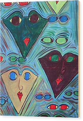 Many Faces Blue Wood Print by Margie  Byrne