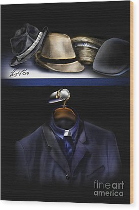 Many Hats One Collar Wood Print by Reggie Duffie