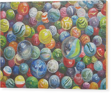 Many Marbles Wood Print by Oz Freedgood