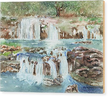 Wood Print featuring the painting Many Waterfalls by Arline Wagner