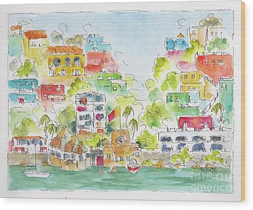Wood Print featuring the painting Manzanillo Coastline by Pat Katz