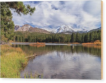 Wood Print featuring the photograph Manzanita Lake - Mount Lassen by James Eddy