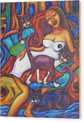Wood Print featuring the painting Maori Girl And Three Cats by Dianne  Connolly
