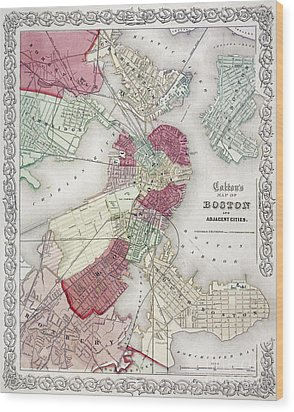 Map: Boston, 1865 Wood Print by Granger
