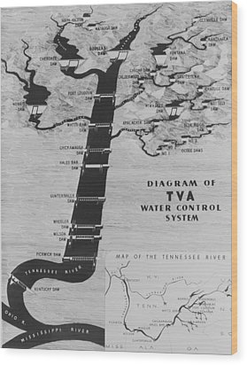 Map Diagrams The Functions The New Deal Wood Print by Everett