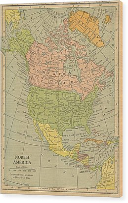 Wood Print featuring the drawing Map North America 1909 by Digital Art Cafe
