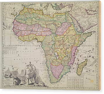 Map Of Africa Wood Print by Pieter Schenk