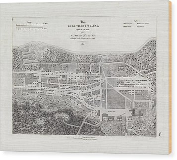 Map Of Agana Village Guam Wood Print by A Berard