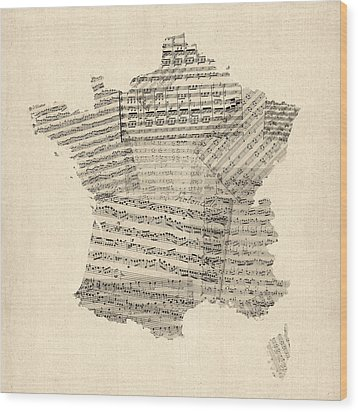 Map Of France Old Sheet Music Map Wood Print by Michael Tompsett