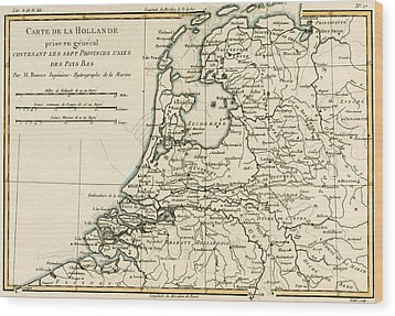 Map Of Holland Including The Seven United Provinces Of The Low Countries Wood Print by Guillaume Raynal