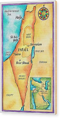 Map Of Israel Wood Print by Jennifer Thermes