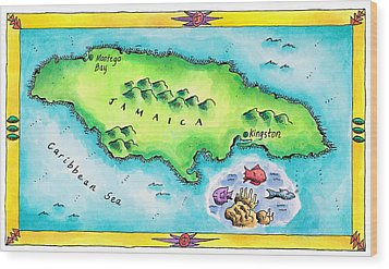 Map Of Jamaica Wood Print by Jennifer Thermes