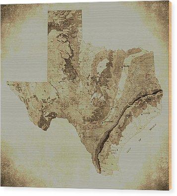 Map Of Texas In Vintage Wood Print