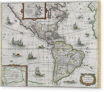 Map Of The Americas Wood Print by Henricus Hondius