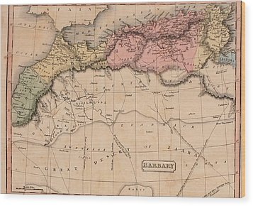 Map Of The Barbary States Of North Wood Print by Everett