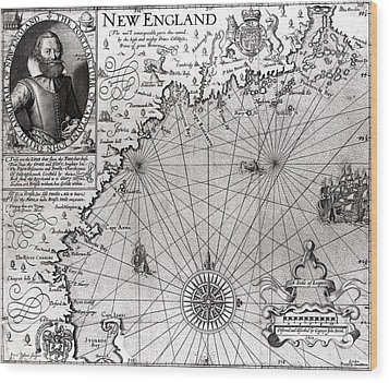 Map Of The Coast Of New England Wood Print by Simon de Passe