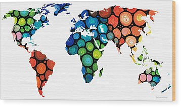 Map Of The World 1 -colorful Abstract Art Wood Print by Sharon Cummings