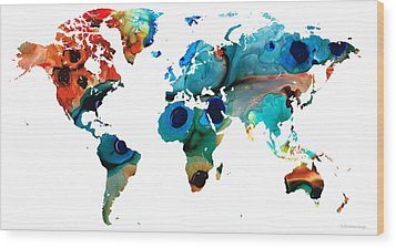 Map Of The World 6 -colorful Abstract Art Wood Print by Sharon Cummings