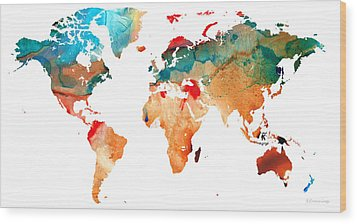 Map Of The World 7 -colorful Abstract Art Wood Print by Sharon Cummings