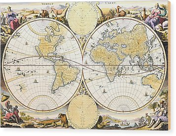 Map Of The World Wood Print by Daniel Stoopendaal