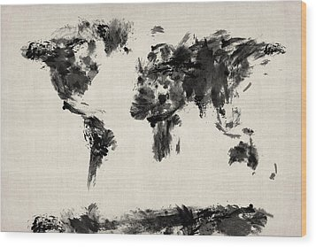 Map Of The World Map Abstract Wood Print by Michael Tompsett