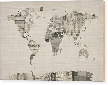 Map Of The World Map From Old Postcards Wood Print by Michael Tompsett