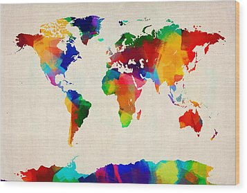 Map Of The World Map Wood Print by Michael Tompsett