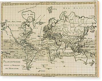Map Of The World Using The Mercator Projection Wood Print by Guillaume Raynal