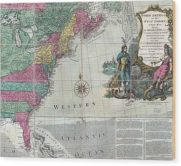 Map Showing The 13 British Colonies Wood Print by Everett