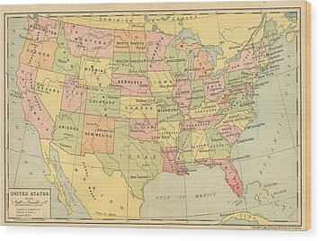 Wood Print featuring the digital art Map Usa 1909 by Digital Art Cafe