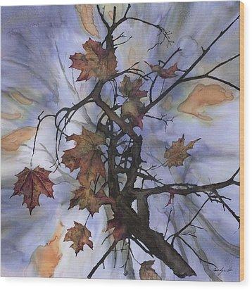 Maple Autumn Splash Wood Print by Carolyn Doe