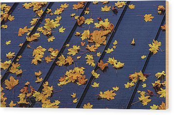 Maple Leaves On A Metal Roof Wood Print