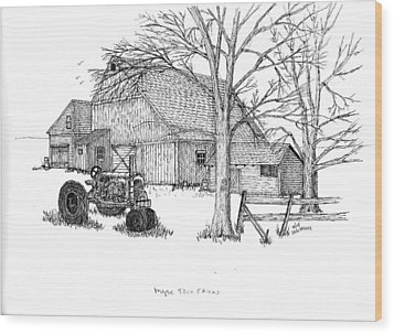 Wood Print featuring the drawing Maple Tree Farm by Jack G  Brauer