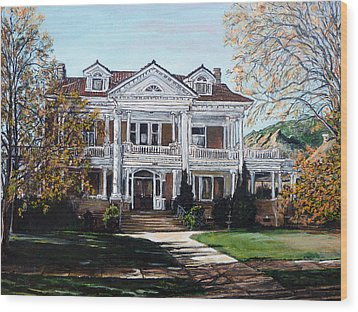 Wood Print featuring the painting Mapleton Hill Homestead by Tom Roderick