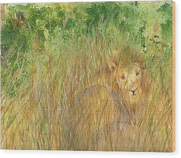 Wood Print featuring the painting Mara The Lioness by Vicki  Housel