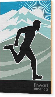 Marathon Runner Wood Print by Aloysius Patrimonio