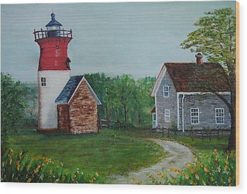 Wood Print featuring the painting Marbelhead Lighthouse by Debbie Baker