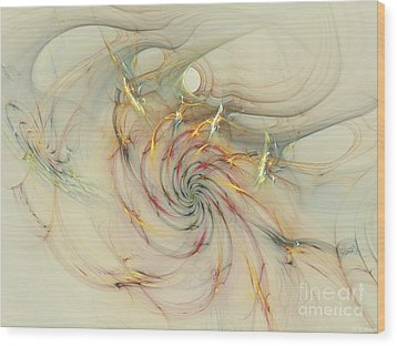 Marble Spiral Colors Wood Print by Deborah Benoit