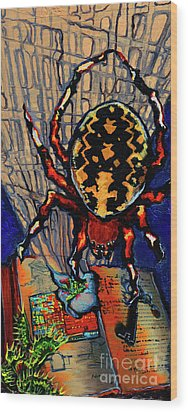 Marbled Orbweaver Wood Print by Emily McLaughlin