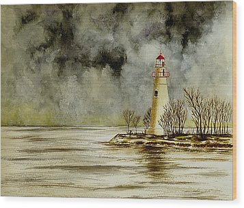 Marblehead Lighthouse In The Winter Wood Print by Michael Vigliotti