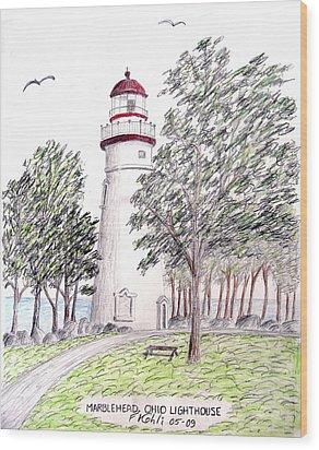 Marblehead Ohio Lighthouse  Wood Print by Frederic Kohli