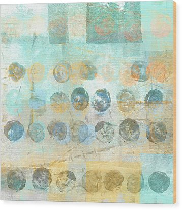 Wood Print featuring the mixed media Marbles Found Number 4 by Carol Leigh
