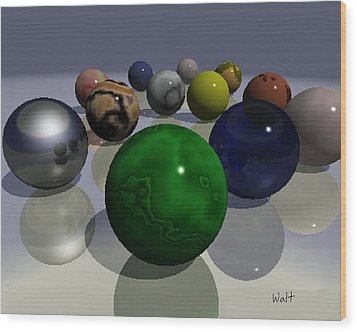 Wood Print featuring the digital art Marbles by Walter Chamberlain