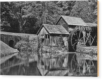 Marby Mill In Black And White Wood Print by Paul Ward