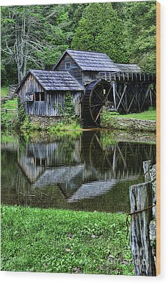 Marby Mill Reflection Wood Print by Paul Ward