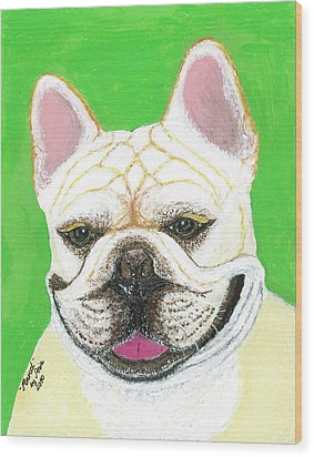Wood Print featuring the painting Marcel French Bulldog by Ania M Milo