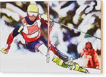 Marcel Hirscher Skiing Wood Print by Lanjee Chee