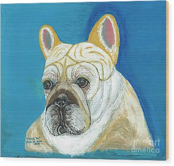 Wood Print featuring the painting Marcel II French Bulldog by Ania M Milo