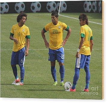 Marcelo Hulk And Neymar Wood Print by Lee Dos Santos